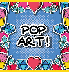 Fachion pop art patch background design vector