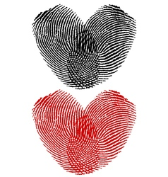 Finger prints in heart shape vector image vector image
