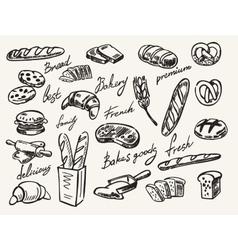 Hand drawn bread vector