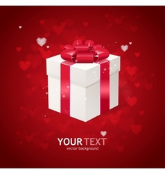 Heart and gift box Valentines day card vector image vector image