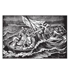 Jesus sleeps through a storm at sea vintage vector