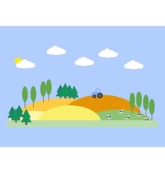 Landscape with fields barn and cows vector