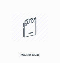 Memory card outline icon isolated vector