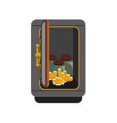 Metal strong box with coins cash money and glass vector