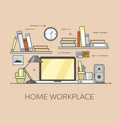 Modern workplace in office cozy home office vector