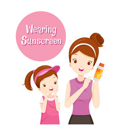 Mother holding sunscreen packaging with daughter vector