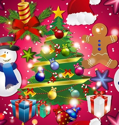 New year pattern with snowman christmas tree toy vector