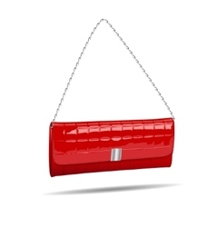 Red women bag isolated on white photo-realistic vector image