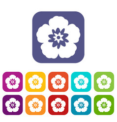 Rose of sharon korean flower icons set vector
