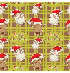 santa deer seamless big redgreen vector image vector image