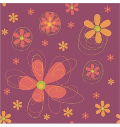 Seamless background with funky flowers vector