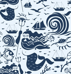 Seamless pattern with Neptune king vector image