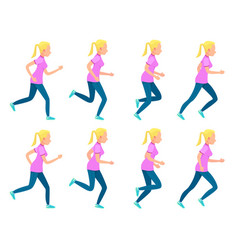 set of running girl variety of sport movements vector image