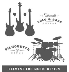 silhouettes of guitars and drums vector image vector image