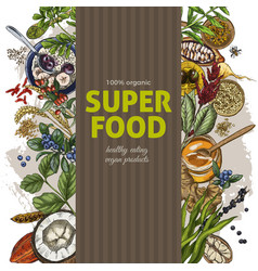 vertical banner with color realistic superfood vector image