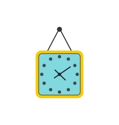Yellow wall square clock icon flat style vector image vector image