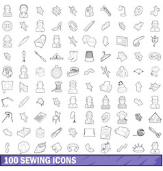 100 sewing icons set outline style vector image
