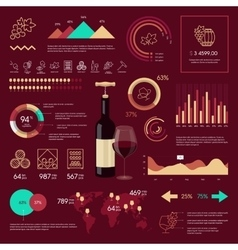 Wine infographic on vinous background vector