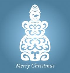 lace handmade snowman vector image