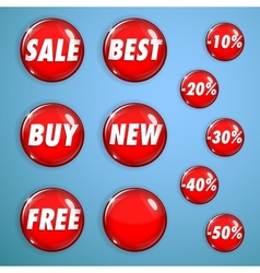 Set of red shiny buttons on sale vector