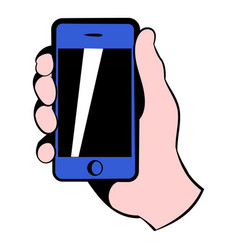 smartphone in hand icon icon cartoon vector image
