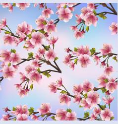 Background seamless pattern with sakura tree vector image