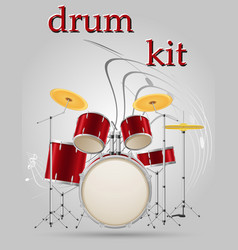 Drum set kit musical instruments stock vector