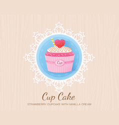Strawberry cupcake with vanilla cream vector