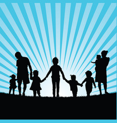 Family with children enjou togetherness in nature vector