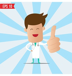 Cartoon doctor show thumb up - - eps10 vector