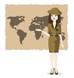 Woman presents the geography of travel vector