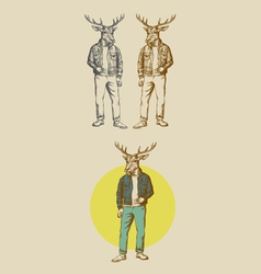 Cool deer hand drawn vector