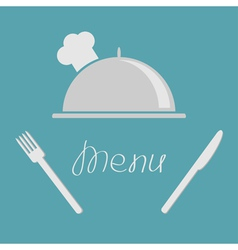 Silver platter cloche fork knife menu cover flat vector