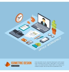 Office workplace isometric design business vector
