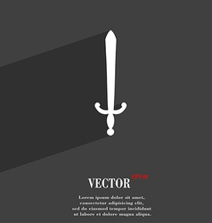 Sword icon symbol flat modern web design with long vector