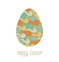 Greeting card easter egg with pattern vector