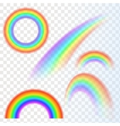 Rainbows in different shape realistic set on vector