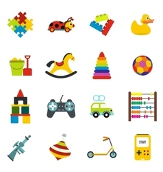 Toys flat icons set vector