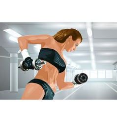 Young strong woman training vector