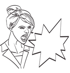 Art of screaming woman lineart isolated vector