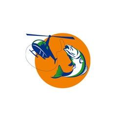 Barramundi Heli Fishing Sun Retro vector image vector image