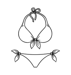Bikini icon in outline style isolated on white vector image