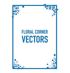 blue floral corners background set vector image