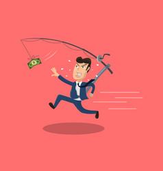 Businessman chasing cash vector