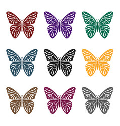 butterfly icon in black style isolated on white vector image