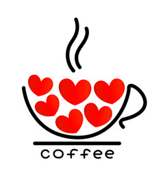coffee cup with red hearts icon vector image vector image