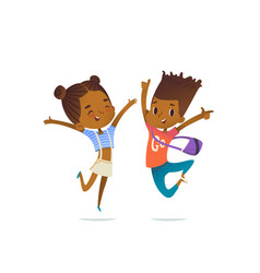couple of african american children boy and girl vector image vector image