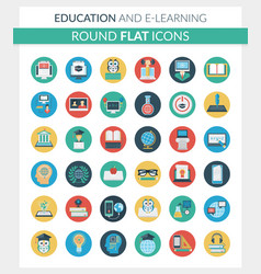 Education and e-learning round flat icons vector