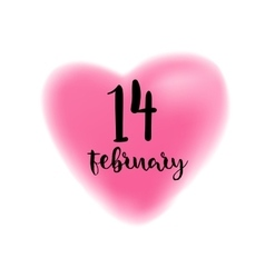 Fourteenth February lettering on heart vector image