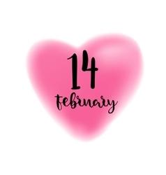 Fourteenth february lettering on heart vector